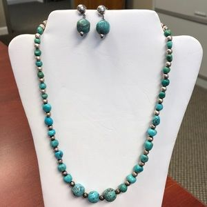 Turquoise and silver necklace and earrings